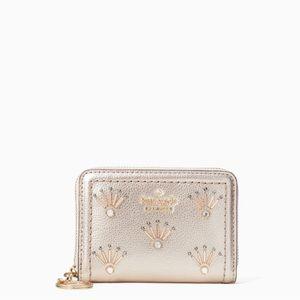Kate Spade Leather embellished wallet in metallic